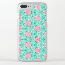 Millennial Pink Chenille and Mint Anchor  Pattern Clear iPhone Case