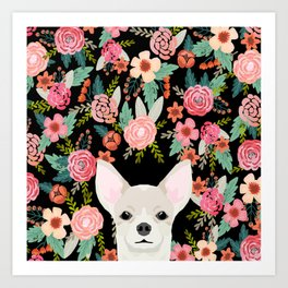 Chihuahua face floral dog breed cute pet gifts pure breed dog lovers chihuahuas Art Print