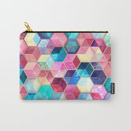 Topaz & Ruby Crystal Honeycomb Cubes Carry-All Pouch