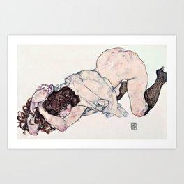 Egon Schiele - Kneeling Girl, Resting on Both Elbows - Digital Remastered Edition Art Print