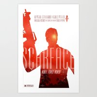 scarface Art Prints featuring Scarface by Duke Dastardly