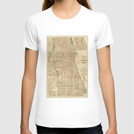 Vintage Map of The Chicago Railroads (1906) T-shirt