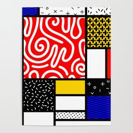 Mondrian in a Memphis Style Poster