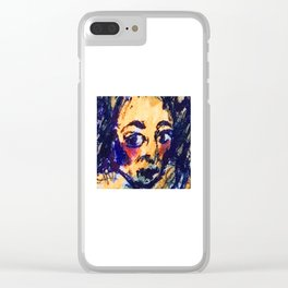 Red Cheeks Woman Clear iPhone Case