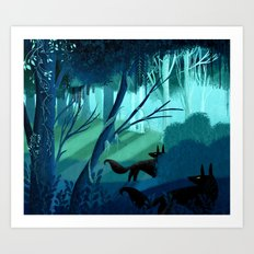 Shadow Wolves Stalk The Silver Wood Art Print