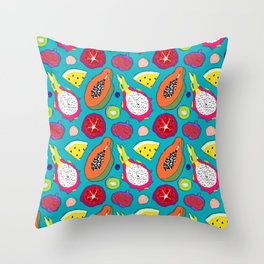 Seedy Fruits in Teal Blue Throw Pillow