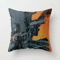 metal gear Throw Pillows featuring METAL GEAR Ground Zeroes by Toni Infante