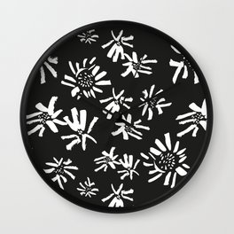 White Flowers On The Black Wall Clock