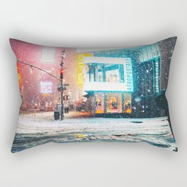 New York City Snow in Times Square Rectangular Pillow