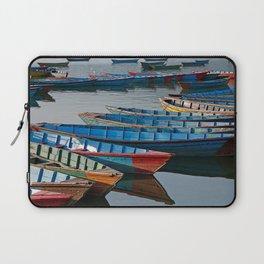 COLORFUL CANOES ALONG PHEWA LAKE SHORELINE POKHARA NEPAL 2 Laptop Sleeve