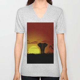 Sunset and elefant Unisex V-Neck