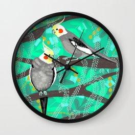 Cockatiels in Green Wall Clock