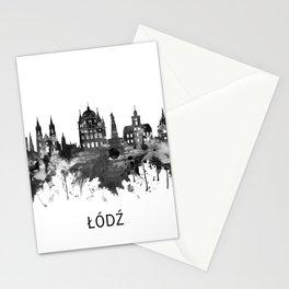 Lodz Poland Skyline BW Stationery Cards