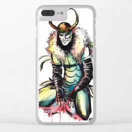 King Loki in Watercolor Clear iPhone Case
