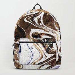 Metallic Gold Purple White Marble Swirl Backpack