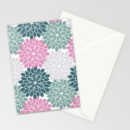 Petal in Rose, Cyan and Milky Grey Stationery Cards