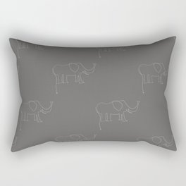 Line Elephant March (Grey) Rectangular Pillow
