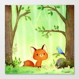 Little fox and bird Canvas Print