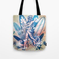 surfboard Tote Bags featuring poseidon surfer on surfboard by Doomko