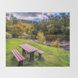Snowdonia River Autumn Throw Blanket
