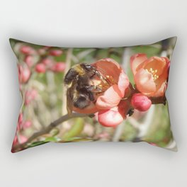 HARDWORKING BUMBLEBEE ON A QUINCE FLOWER Rectangular Pillow