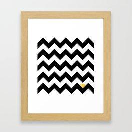 Heart & Chevron - Black/Yellow Framed Art Print