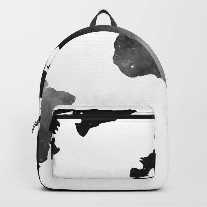 World Map Space Stars Black and White Rucksack