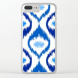 IKAT pattern, indigo blue and white, 07 Clear iPhone Case