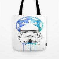 storm trooper Tote Bags featuring Storm Trooper by Leigh Roundy