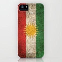 Old and Worn Distressed Vintage Flag of Kurdistan iPhone Case