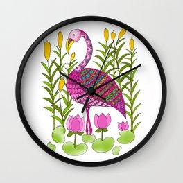 Flamingo and Lotuses Wall Clock