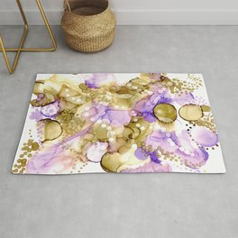 Purple and Brown Dots: Original Alcohol Ink Painting Rug