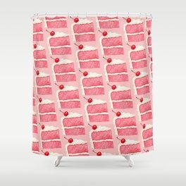 Cherry Cake Pattern - Pink Shower Curtain