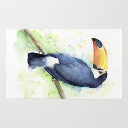 Toucan Tropical Bird Watercolor Rug