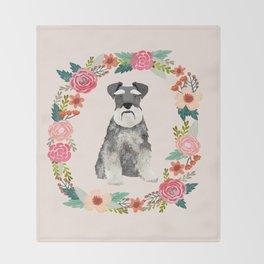 schnauzer floral wreath dog breed pet portrait dog mom Throw Blanket