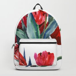 Red Tulips Floral Red Turquoise Blue Artwork Backpack