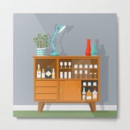 Retro Drinks Cabinet Metal Print