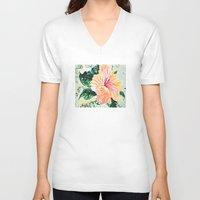 hibiscus V-neck T-shirts featuring Hibiscus by JeleataNicole