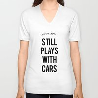 audi V-neck T-shirts featuring Still plays with cars by Barbo's Art