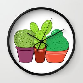 Colorful family of cacti. Wall Clock