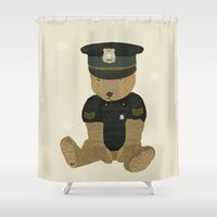 police Shower Curtains featuring police ted  by bri.buckley