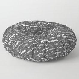 Italian Restaurant Pizza Names Typographic Pattern Floor Pillow