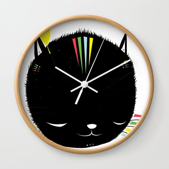 MIGHTY TIGARRR, BLACK KITTEN 묘 Wall Clock