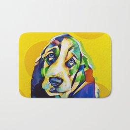 Pop Art Basset Hound Bath Mat