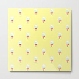 Kawaii melting popsicle pattern Metal Print