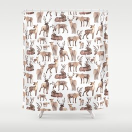 Christmas Reindeer.  Shower Curtain