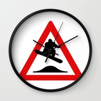 snowboard Wall Clocks featuring Snowboard road sign by Komrod