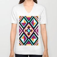 quilt V-neck T-shirts featuring Quilt Pattern by k_c_s