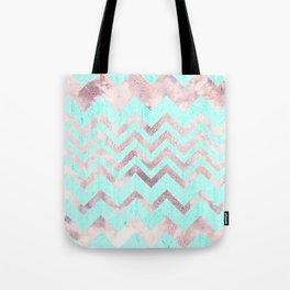 Turquoise blush pink purple geometrical chevron Tote Bag