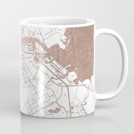 Amsterdam White on Rosegold Street Map Coffee Mug